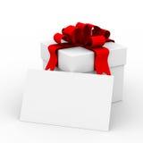 Caixa de presente branca com um cartão. Fotografia de Stock Royalty Free