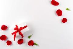 A caixa de presente branca com veludo vermelho da fita vermelha aumentou as pétalas no fundo branco fotografia de stock royalty free