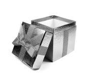 Caixa de presente cinzenta Fotografia de Stock