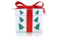 Caixa de presente com árvore de Natal foto de stock