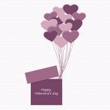 Caixa de presente com balões Foto de Stock Royalty Free