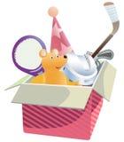 Caixa de presente com brinquedos. Foto de Stock