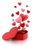 Caixa de presente com corações ilustração do vetor