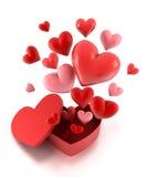 Caixa de presente com corações da mosca ilustração royalty free