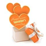 Caixa de presente com corações grandes ilustração stock
