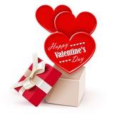 Caixa de presente com corações grandes Fotografia de Stock