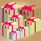 Caixa de presente com curva cor-de-rosa ilustração royalty free