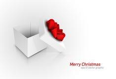 Caixa de presente com curva vermelha da fita Fotografia de Stock