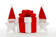 Caixa de presente com estrelas de Papai Noel Foto de Stock