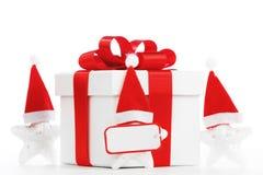 Caixa de presente com estrelas de Papai Noel Imagem de Stock