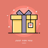 Caixa de presente com etiqueta do coração, linha fina bandeira do projeto liso Foto de Stock Royalty Free