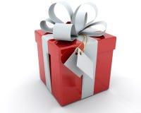 Caixa de presente com fita e Tag Foto de Stock Royalty Free