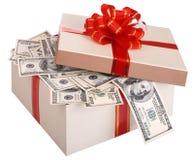 Caixa de presente com a nota de banco do dólar. Fotos de Stock