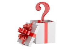 Caixa de presente com ponto de interrogação, conceito da surpresa rendição 3d Imagens de Stock Royalty Free