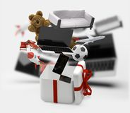 Caixa de presente com presentes 3d-illustration Fotografia de Stock Royalty Free
