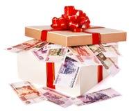 Caixa de presente com rublo do russo do dinheiro. Imagem de Stock