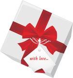 Caixa de presente com Tag e curva vermelha ilustração royalty free