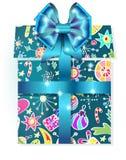 Caixa de presente com teste padrão do feriado Fotos de Stock Royalty Free