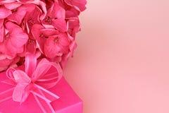 Caixa de presente cor-de-rosa com flor da hortênsia imagem de stock