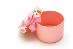 Caixa de presente cor-de-rosa hand-made aberta Imagens de Stock Royalty Free