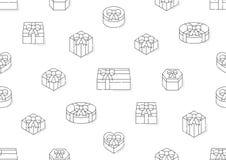 Caixa de presente 3d isométrica com do curso sem emenda do esboço do teste padrão do ícone da sombra linha ajustada ilustração do ilustração royalty free