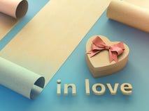 Caixa de presente dada fôrma coração Imagem de Stock Royalty Free