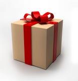 Caixa de presente de Bedge com fita vermelha Imagens de Stock Royalty Free
