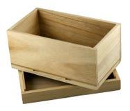 Caixa de presente de madeira aberta com com uma tampa Foto de Stock Royalty Free
