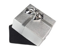 Caixa de presente de prata Fotografia de Stock Royalty Free