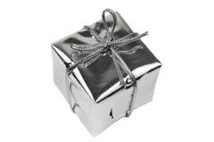 Caixa de presente de prata Imagem de Stock Royalty Free