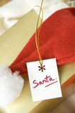 Caixa de presente de Santa Fotografia de Stock Royalty Free