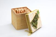 Caixa de presente decorativa do Natal Fotos de Stock