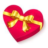 Caixa de presente do coração do dia de Valentim 3D Fotografia de Stock Royalty Free