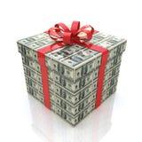 Caixa de presente do dinheiro com fita vermelha em um fundo branco Fotos de Stock Royalty Free