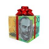 Caixa de presente do dinheiro do dólar australiano Fotos de Stock