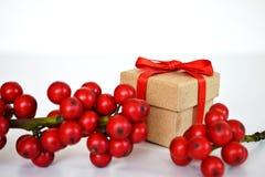 Caixa de presente do Natal amarrada com a fita vermelha, cercada pelo azevinho do Natal Fotos de Stock Royalty Free