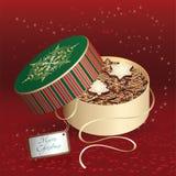 Caixa de presente do Natal com bolinhos Foto de Stock