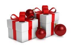 Caixa de presente do Natal com decorações Fotografia de Stock