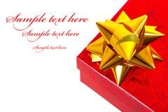 Caixa de presente do Natal com texto da amostra Imagem de Stock