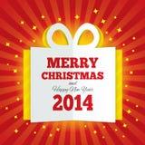 A caixa de presente do Natal cortou o papel. Ano novo 2014. Foto de Stock Royalty Free