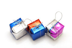 Caixa de presente do Natal no fundo branco Foto de Stock Royalty Free
