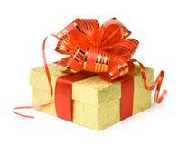 Caixa de presente do ouro Imagem de Stock