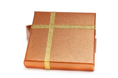 Caixa de presente do ouro Foto de Stock