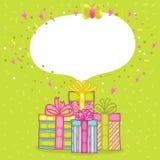 Caixa de presente do presente do feliz aniversario com confetes. Imagem de Stock