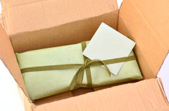 Caixa de presente do verde azeitona Foto de Stock Royalty Free