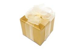 Caixa de presente dourada imagem de stock