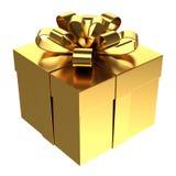 Caixa de presente dourada, fundo transparente do png Imagem de Stock Royalty Free