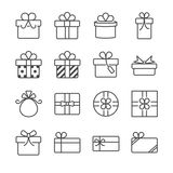 Caixa de presente e ícones atuais ilustração do vetor