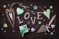 Caixa de presente e corações Foto de Stock