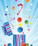 Caixa de presente e decorações do Natal Fotos de Stock